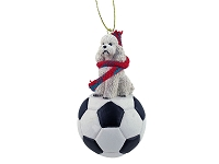 Poodle White w/Sport Cut Soccer Ornament