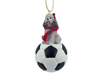 Poodle Gray w/Sport Cut Soccer Ornament