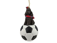 Poodle Chocolate w/Sport Cut Soccer Ornament