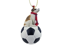 Jack Russell Terrier Brown & White w/Smooth Coat Soccer Ornament