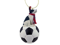 Jack Russell Terrier Black & White w/Smooth Coat Soccer Ornament