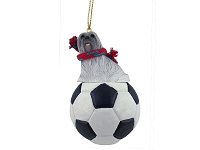 Lhasa Apso Gray Soccer Ornament