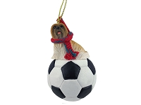 Lhasa Apso Brown Soccer Ornament