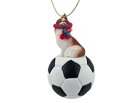 Japanese Chin Red & White Soccer Ornament