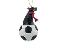 Coonhound Black & Tan Soccer Ornament