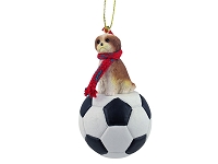 Shih Tzu Tan w/Sport Cut Soccer Ornament