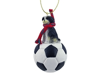 Shih Tzu Black & White w/Sport Cut Soccer Ornament