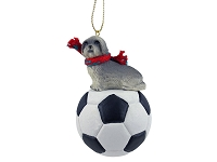 Lhasa Apso Gray w/Sport Cut Soccer Ornament