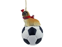 Lhasa Apso Brown w/Sport Cut Soccer Ornament