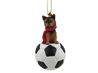 Yorkshire Terrier Puppycut Soccer Ornament