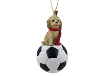 Cockapoo Blond Soccer Ornament