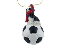 Cocker Spaniel Black & White Soccer Ornament