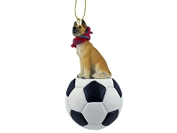 Great Dane Fawn Soccer Ornament