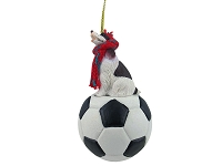Springer Spaniel Liver & White Soccer Ornament