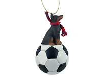 Doberman Pinscher Red w/Cropped Soccer Ornament