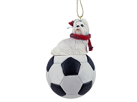 Shih Tzu White Soccer Ornament