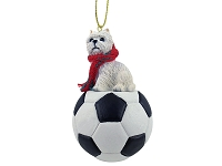 West Highland Terrier Soccer Ornament