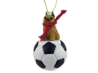 Brussels Griffon Red Soccer Ornament