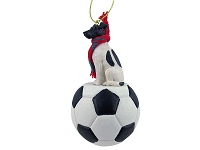 Fox Terrier Black & White Soccer Ornament