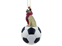 Norwegian Elkhound Soccer Ornament