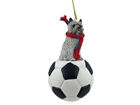 Cairn Terrier Gray Soccer Ornament