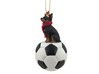 Miniature Pinscher Tan & Black Soccer Ornament