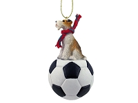Wire Fox Terrier Red Soccer Ornament