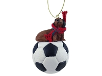 Dachshund Longhaired Red Soccer Ornament
