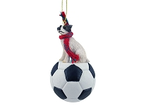 Jack Russell Terrier Brown & White w/Rough Coat Soccer Ornament