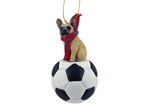 French Bulldog Fawn Soccer Ornament
