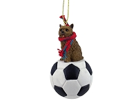 Norwich Terrier Soccer Ornament