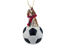 Cavalier King Charles Spaniel Brown & White Soccer Ornament