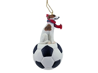 Whippet Brindle & White Soccer Ornament