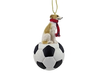 Whippet Tan & White Soccer Ornament