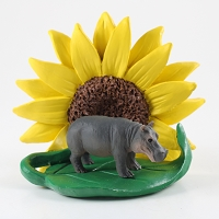 Hippopotamus Sunflower Figurine