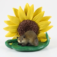 Beaver Sunflower Figurine
