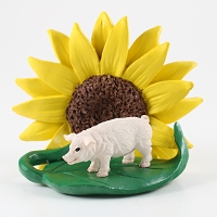 Pig Pink Sunflower Figurine
