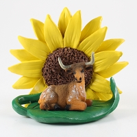 Long Horn Steer Sunflower Figurine