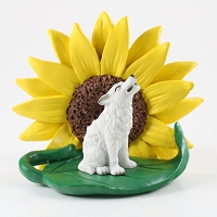 Wolf White Sunflower Figurine