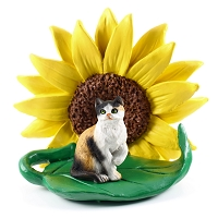 Calico Shorthaired Sunflower Figurine