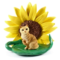 Red Tabby Manx Sunflower Figurine