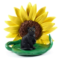 Black Shorthaired Tabby Cat Sunflower Figurine