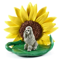 Poodle Gray SUNFLOWER FIGURINE