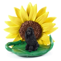 Poodle Black SUNFLOWER FIGURINE