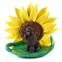 Poodle Chocolate SUNFLOWER FIGURINE
