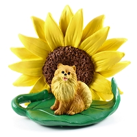 Pomeranian Red SUNFLOWER FIGURINE