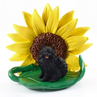 Pomeranian Black SUNFLOWER FIGURINE