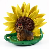 Yorkshire Terrier SUNFLOWER FIGURINE