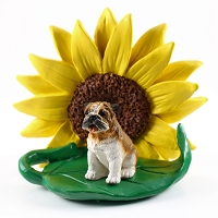 Bulldog SUNFLOWER FIGURINE