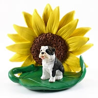 Bulldog Brindle SUNFLOWER FIGURINE